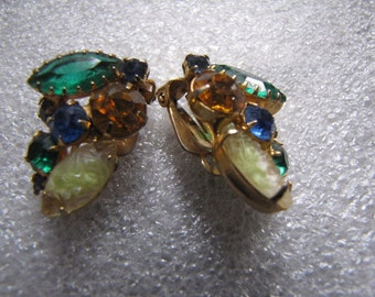 Earrings Vintage Topaz Green Rhinestone Fruit Salad Clip