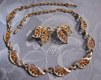 Vintage Necklace Earrings Topaz Rhinestone Leaves clip ears