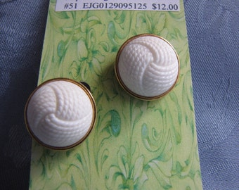 Vintage Monet White Button Earrings