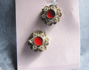 Vintage Red Enamel Center Rhinestone Earrings Clips