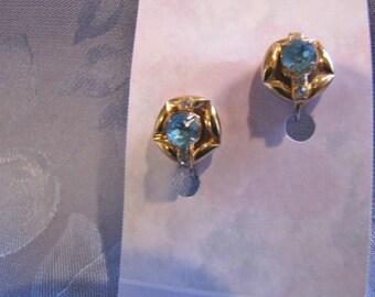 Vintage Earrings Turquoise Rhinestone Goldtone Screwbacks