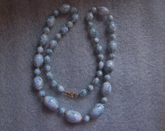 Vintage Necklace Blue White Oval Marbelized Glass Beads