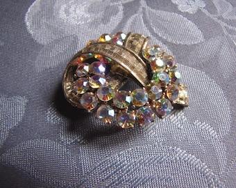 Vintage Aurora Borealis Rhinestones Brooch Pin Silvertone