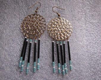 Gold Filligree Vintage Medallion Beaded Fringe Turquoise Black White Piered Earring