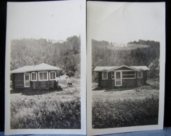Antique Photos Log Cabins Mountains Out West USA Black & White