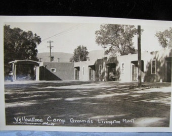 RPPC Yellowstone Camp Grounds Livingston Mont MT1930s