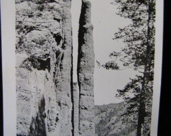 Antique Photo Chimney Rock Cody Road Yellowstone Park 1930s