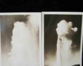 Antique Photos 2 Old Faithful Geyser Yellowstone Park 1930s Haynes