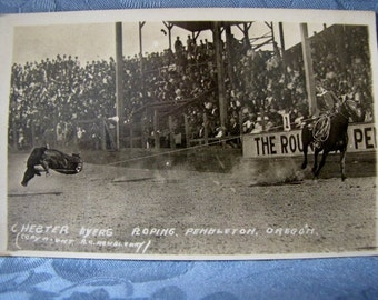 Doubleday Antique Rodeo Postcard 1930s Chester Byers Roping Pendleton Oregon 1930s