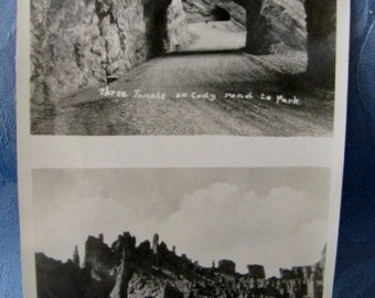 Double Antique Photo Three Tunnels Cody Road Holy City 1930s
