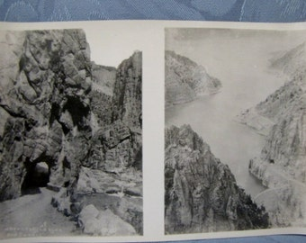 Antique Double Photo Shoshone Lake Dam Canyon Cody Road Tunnel 1930s