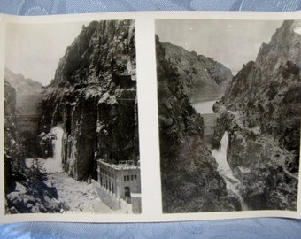 Double Antique Photo Shoshone Dame Lake Cody Road Yellowstone Park 1930s