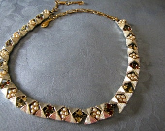 Coro Vintage Necklace Seed Pearls Amber Blue Clear Rhinestones