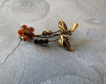 Vintage Topaz Rhinestone Flower Pin Antique'd Goldtone
