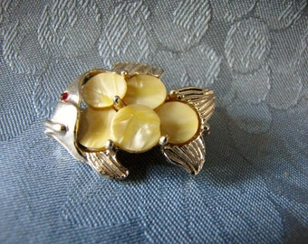 Vintage Fish Brooch Pin Faux Mother of Pearl Red Rhinestone Eye Goldtone Pin