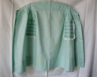 Vintage Green Gingham Half Apron Ric Rac Embroidery Lace
