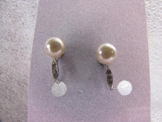 Vintage Faux Pearl Rhinestone Earrings Silvertone