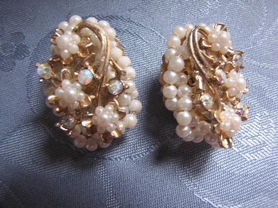 Unique Vintage Earrings Seed Pearls Aurora Borealis Rhinestones