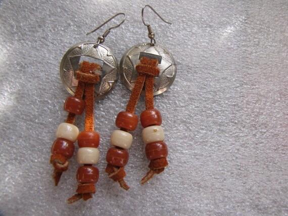 Vintage Conchos Earrings Brown Suede Tan Brown Beads Silver