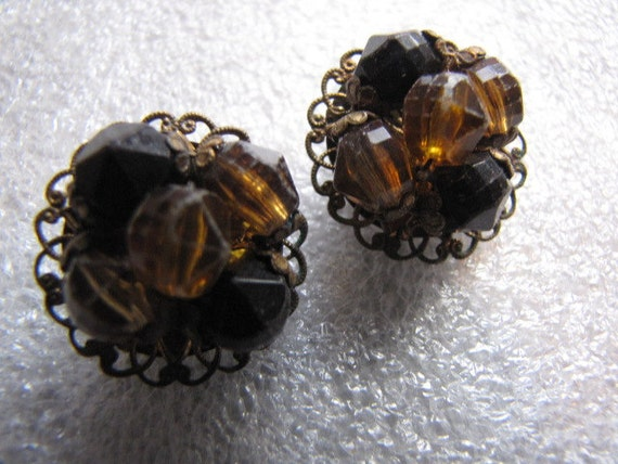 Vintage W. Germany Button Beaded Earrings Clip Brown