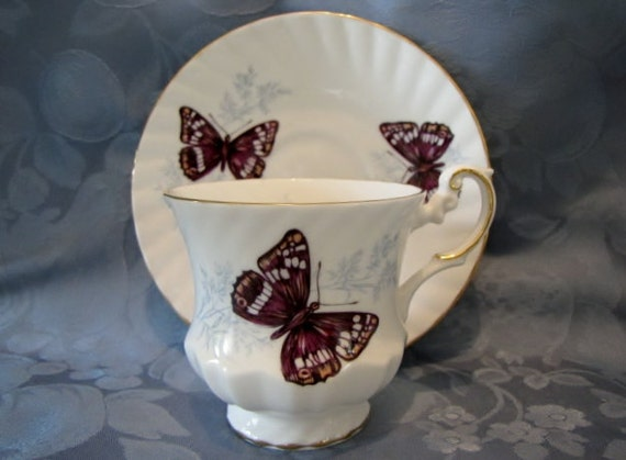 Vintage Teacup Saucer Butterflies Bone China England Purple Emperor