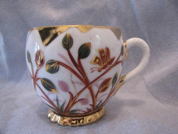 Vintage Men's Mustache Cup Butterfly Leaves