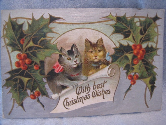 Antique Postcard Christmas Wishes Cats 1900s Salvation Army Ontario Canada