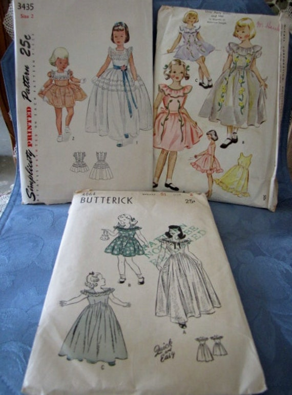 Vintage Little Girl's Party Dress Sewing Patterns 1940s 1950s McCalls Butterick Simplicity
