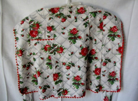 Vintage Red Rose Half Apron Ric Rac Gray Green Red Box Pleats