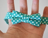 Bowtie Bow Tie Adjustable Newborns to Toddlers- Turquoise w/ Polka Dots