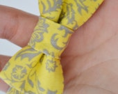 Bowtie For Baby- Gray and Yellow Damask