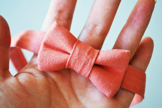 Bowtie in Coral Linen- Newborns and Toddlers
