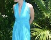 Goddess Dress Blue Old Hollywood style Dance Ice Skater Dress by KitKatCabaret