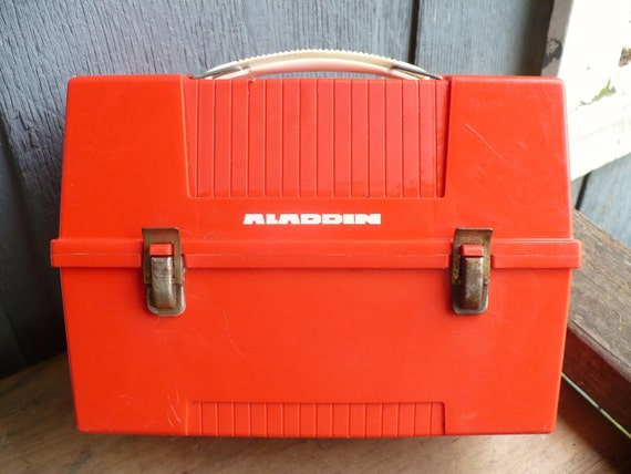 Fathers day Sale 1980s Red Aladdin Lunch Box with glass lined thermos