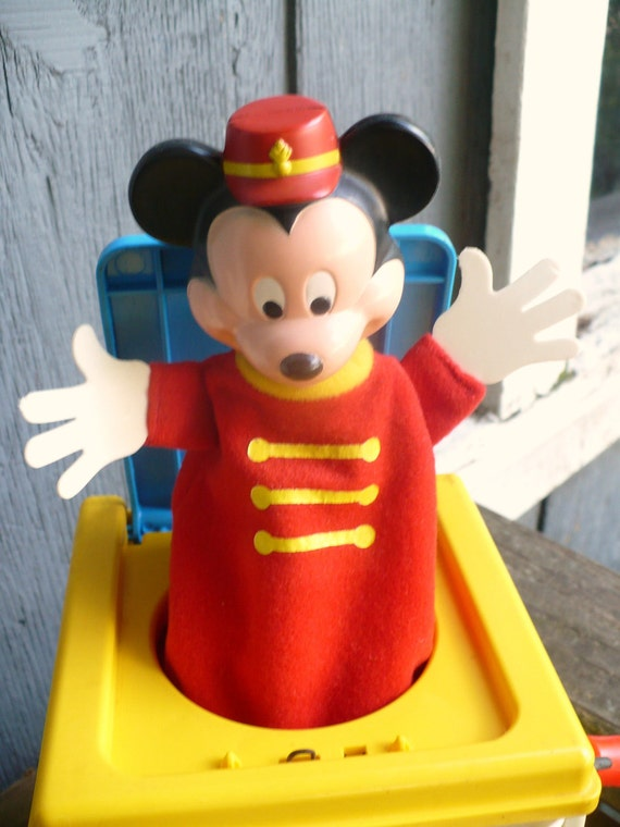 Mattel 1987 Colorful Mickey Mouse Jack In The Box with plastic carry handle