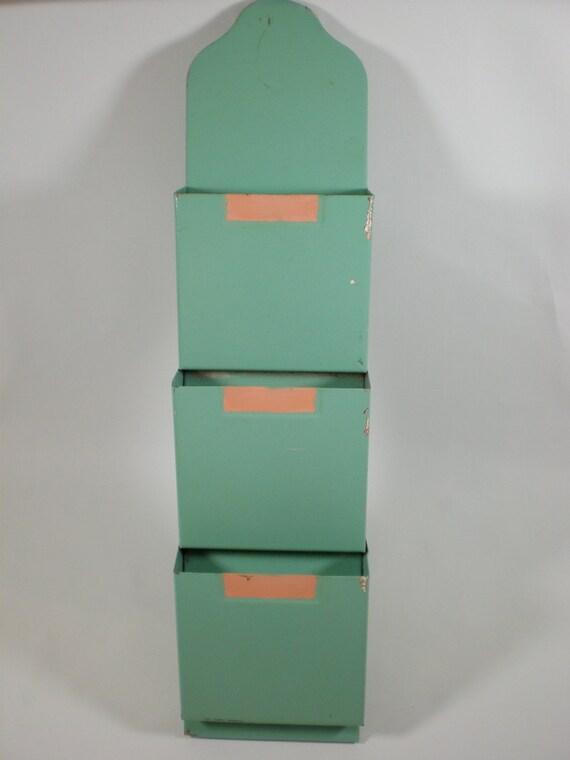 Green Painted Metal Wall Pocket