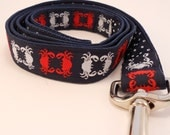 Crabs Dog Leash - Preppy Navy with Red and White Crab