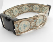 Adjustable 1.5 Wide Dog Collar -- Taupe with White, Light Blue and Brown Vintage RIbbon