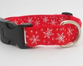 Red Holiday Winter Snowflake Adjustable Dog Collar