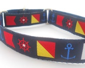 Martingale Dog Collar -  Nautical Flags with Anchor and Ships Wheel