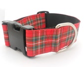 Wide Christmas Plaid Holiday Dog Collar 1.5 in Wide Adjustable