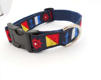 Nautical Flags Adjustable Dog Collar