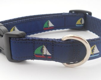 Nautical Dog Collar - Navy with Colorful Sailboat - 5/8 inch Narrow Width