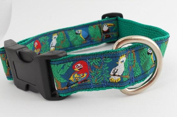 Rain Forest Parrot Tropical Bird Adjustable Dog Collar