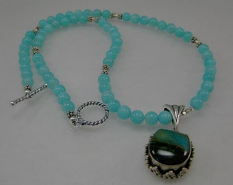 AAA Peruvian amazonite, Peruvian opal and sterling silver necklace. CHARITY DONATION