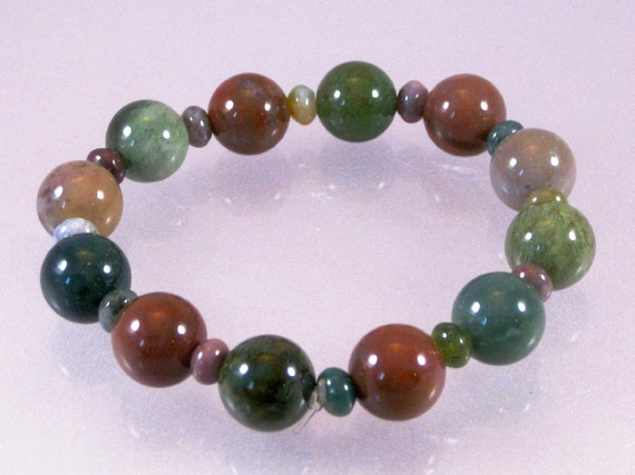 Fancy jasper stretch bracelet: charity donation, ON SALE