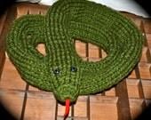 Grass Snake Scarf handmade soft green long plush warm snake scarf