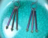 Dusky Purple Earrings long metallic purple and oxidized silver handmade jewelry gift