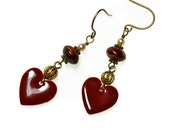 RESERVED FOR KENT Please do not purchase unless you are him.  Romance Classic Earrings valentine heart vintage gold