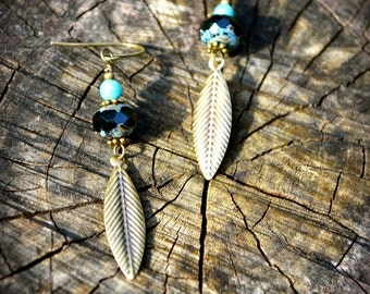 Bronze Leaf Earrings with Czech glass beads blue black and bronze handmade jewelry gift